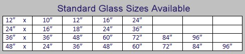Standard Glass Sizes Available